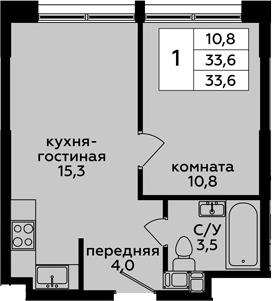2-к.кв (евро), 33.6 м²