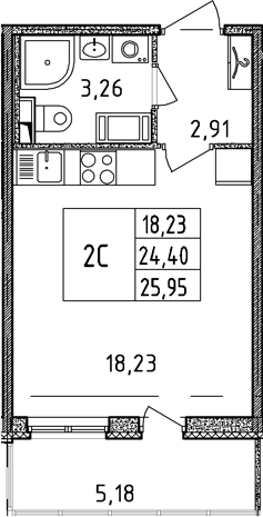 Студия, 24.4 м²