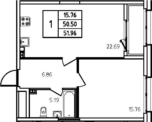 2-к.кв (евро), 53.42 м²