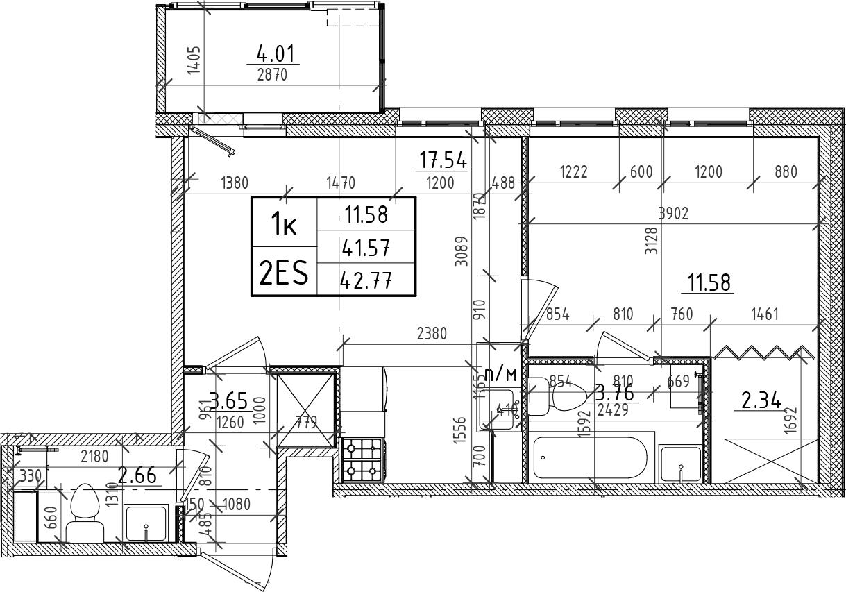 2Е-комнатная, 41.57 м²– 2