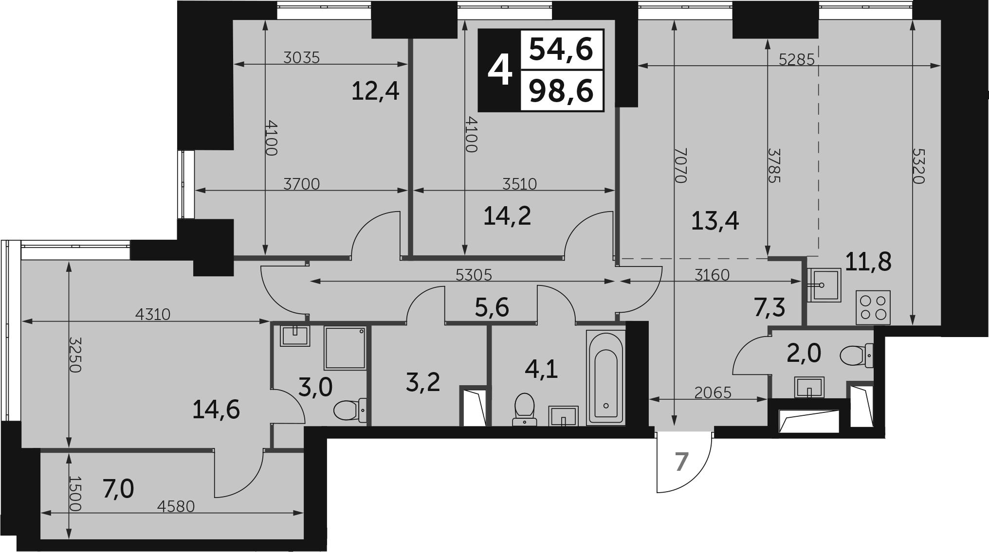 4-к.кв, 98.6 м²