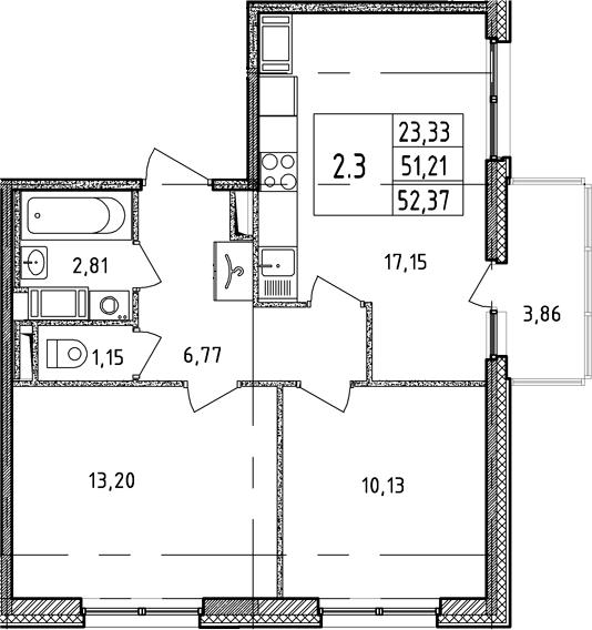 3Е-комнатная, 51.21 м²– 2
