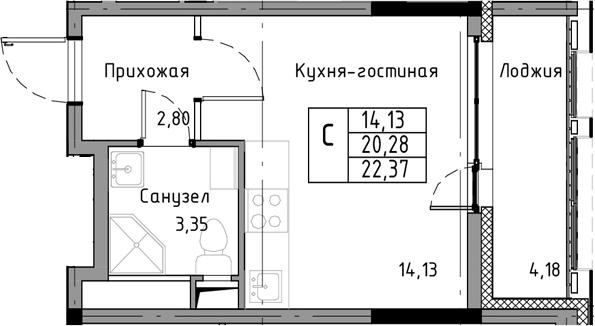 Студия, 22.37 м²– 2