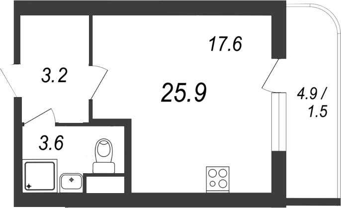 Студия, 25.9 м²– 2