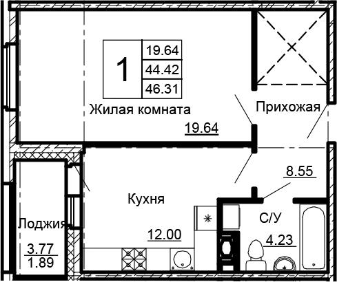 1-к.кв, 46.31 м²