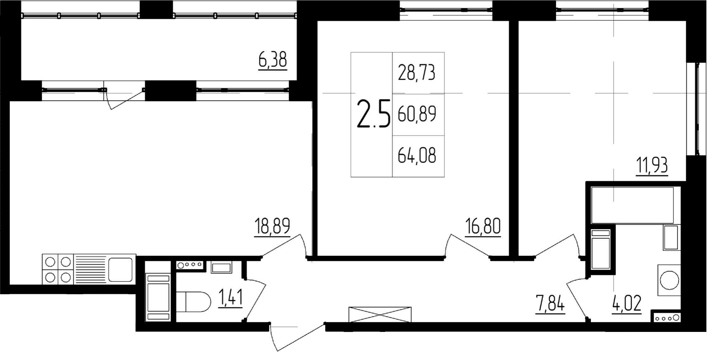 3Е-комнатная, 60.89 м²– 2