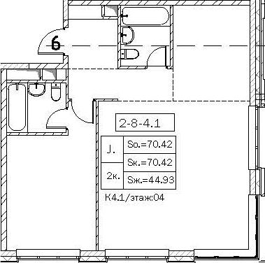 Своб. план., 70.42 м²