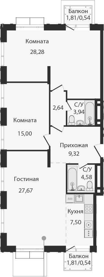 3Е-комнатная, 100 м²– 2