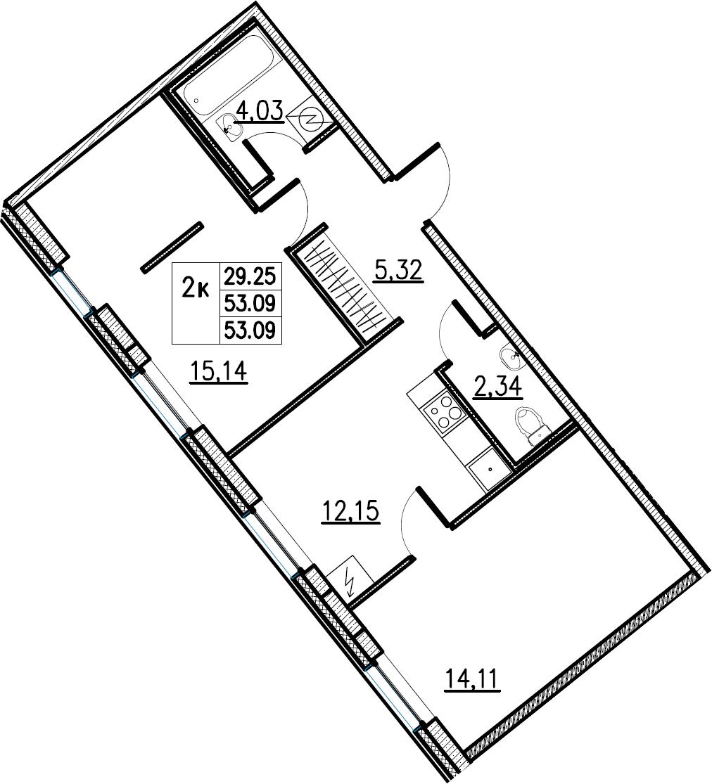 2-комнатная, 53.09 м²– 2