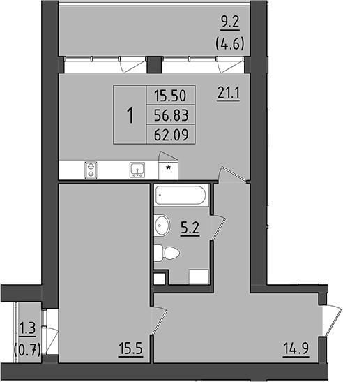 2Е-к.кв, 67.33 м²
