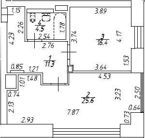 2Е-к.кв, 57.8 м², 7 этаж