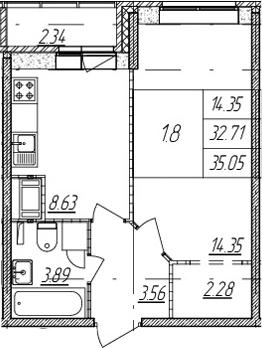 1-комнатная, 32.71 м²– 2
