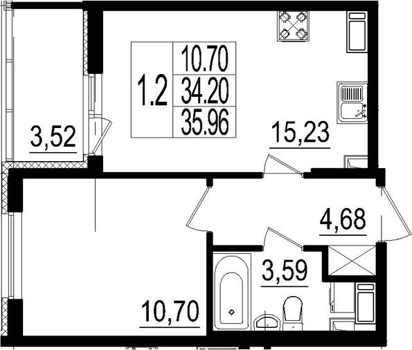 2Е-к.кв, 34.2 м², от 3 этажа