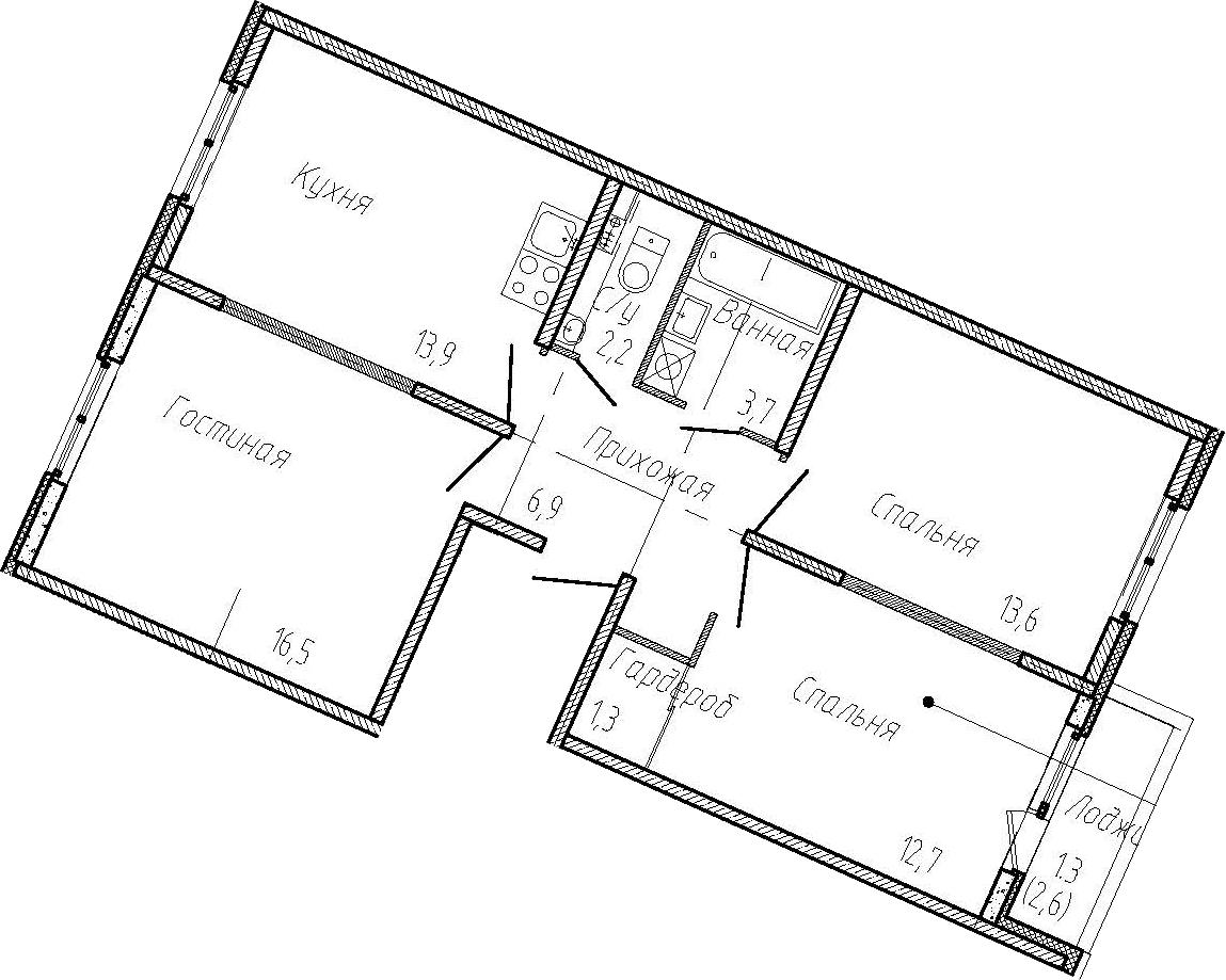 3-к.кв, 73.4 м²