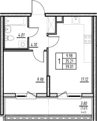 2-к.кв (евро), 42.82 м²