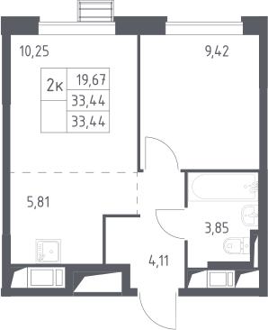 2Е-к.кв, 33.44 м²