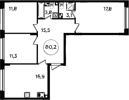 4-к.кв (евро), 80.2 м²