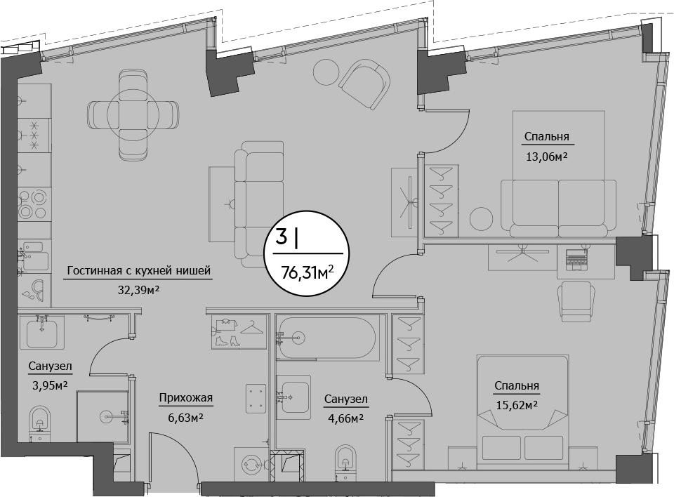 3Е-к.кв, 76.31 м²