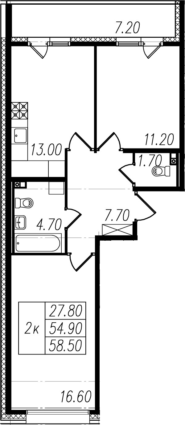 2-к.кв, 54.9 м², 1 этаж