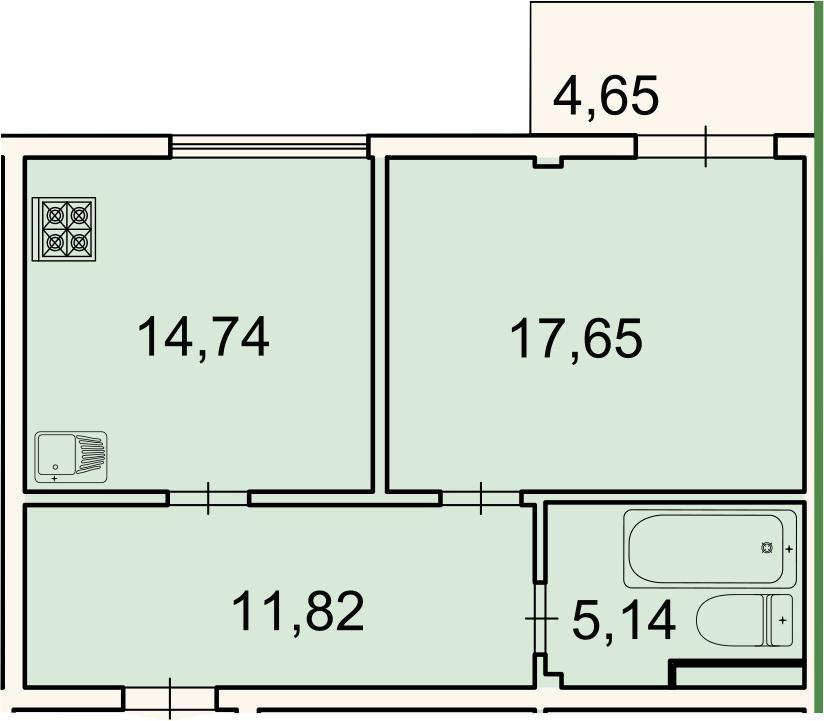 1-к.кв, 50.7 м²