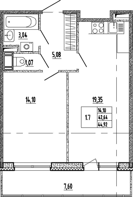 2Е-к.кв, 42.64 м², 7 этаж