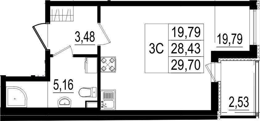Студия, 28.43 м²