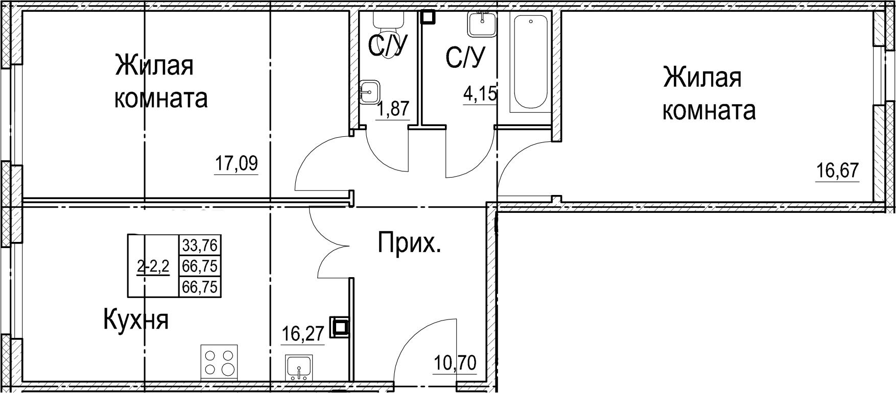 2-комнатная, 66.75 м²– 2