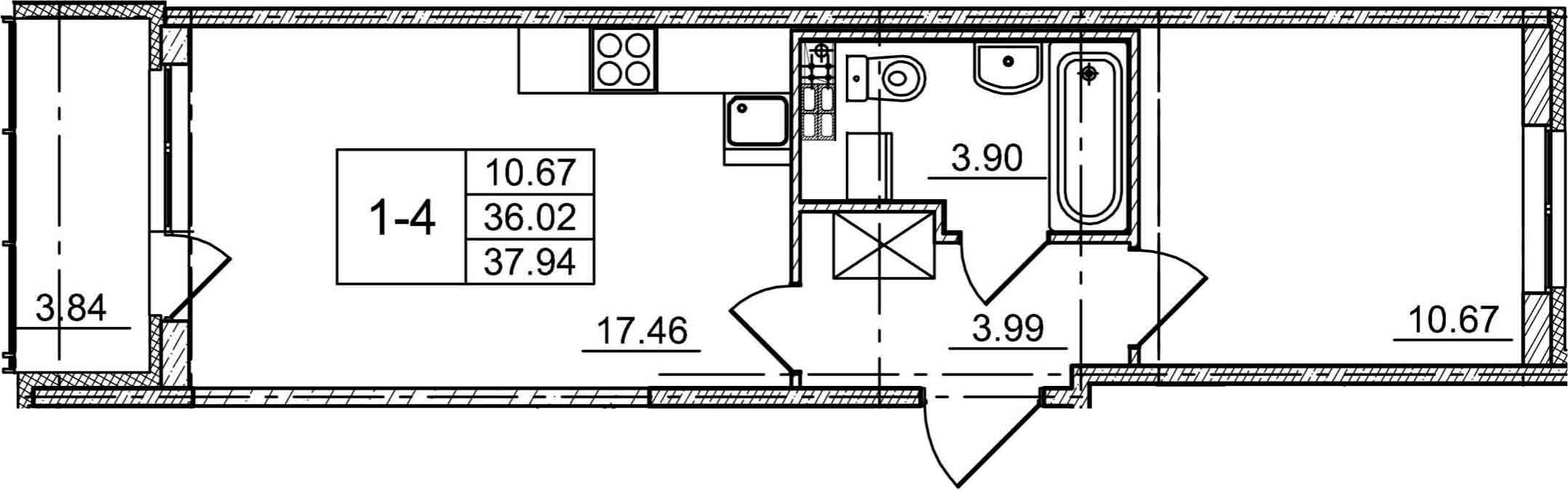 2Е-к.кв, 36.02 м², 3 этаж