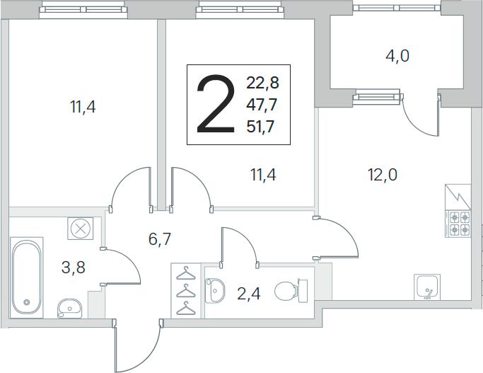 3Е-к.кв, 47.7 м², 1 этаж