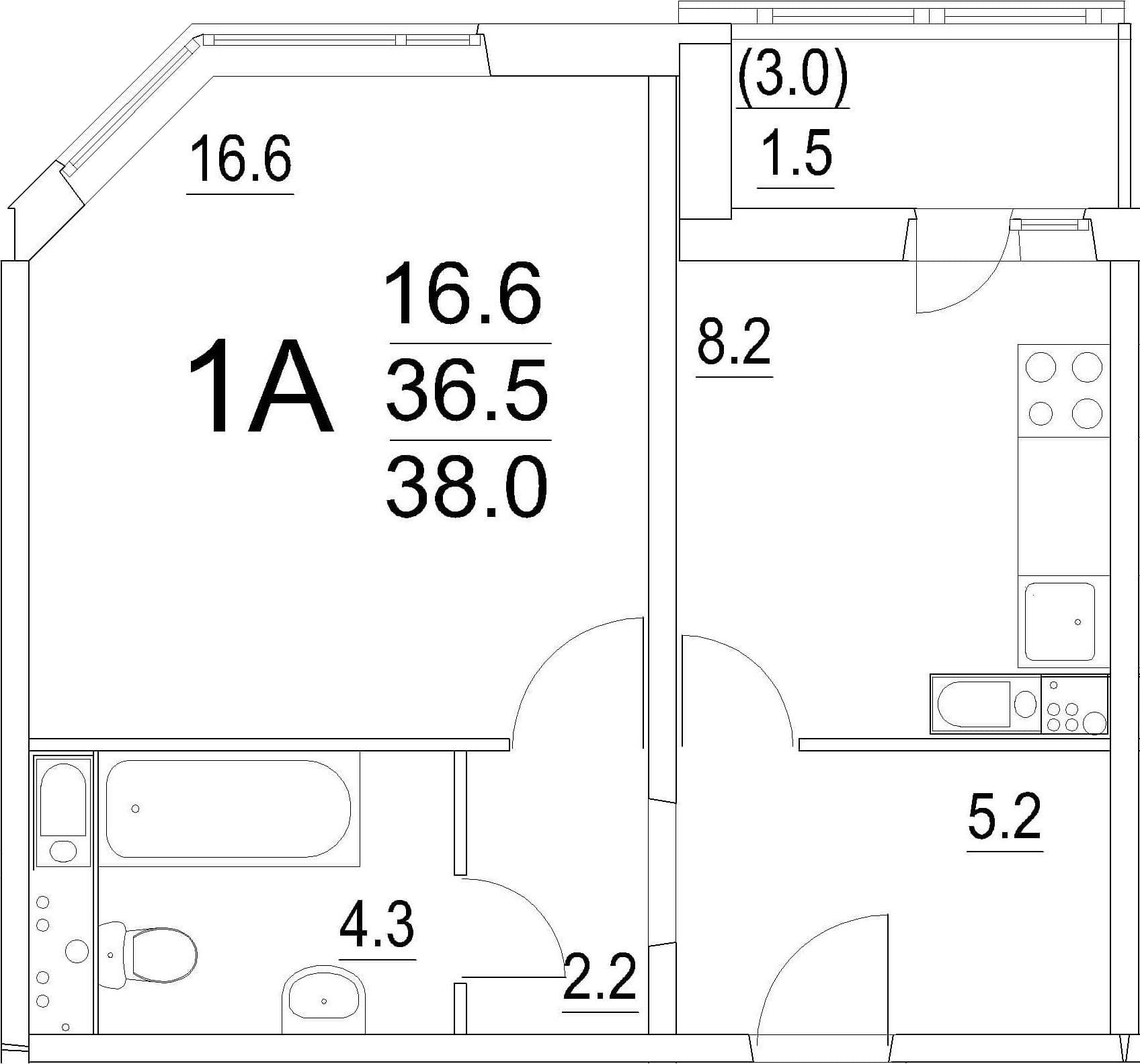 1-к.кв, 39.5 м²