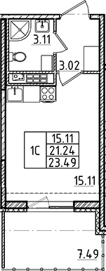 Студия, 21.24 м²