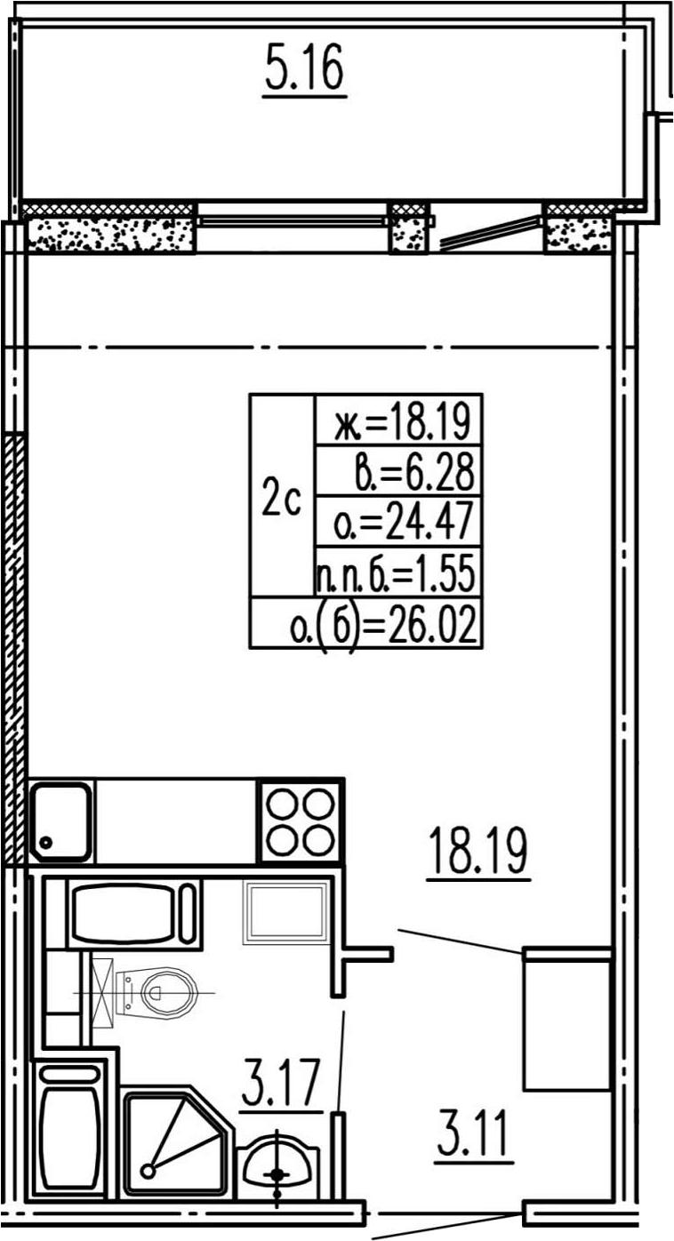 Студия, 24.47 м², 11 этаж