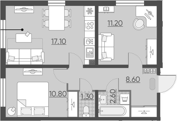 3-к.кв (евро), 51.6 м²