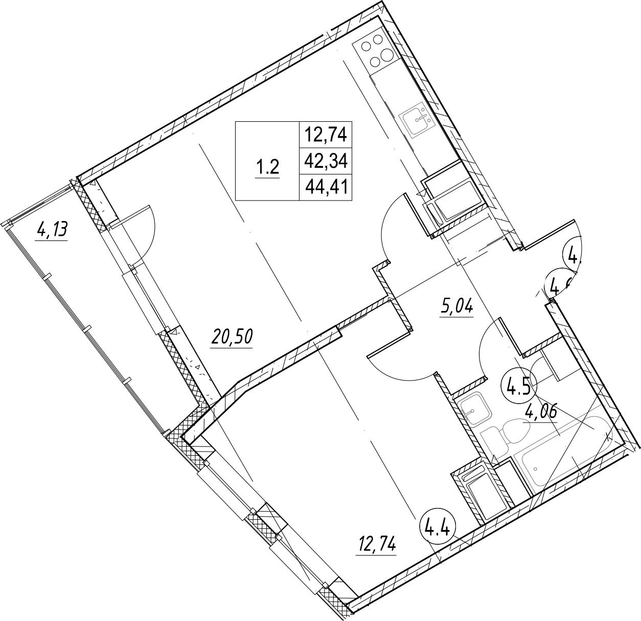 1-к.кв, 44.41 м²