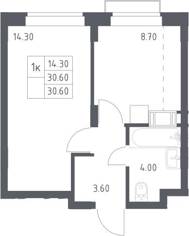 1-к.кв, 30.6 м², 9 этаж