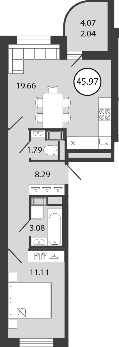 2Е-комнатная квартира, 45.97 м², 3 этаж – Планировка