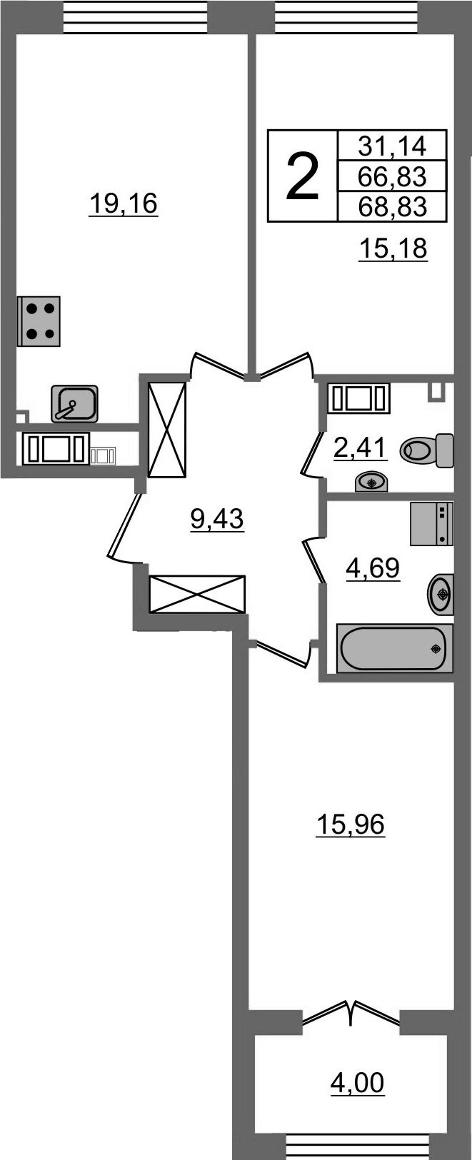 3-к.кв (евро), 70.83 м²