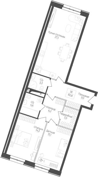 3Е-комнатная, 82.8 м²– 2