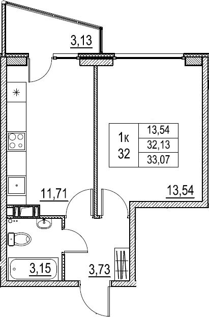1-к.кв, 33.07 м²