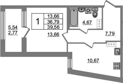 1-к.кв, 36.79 м², 6 этаж