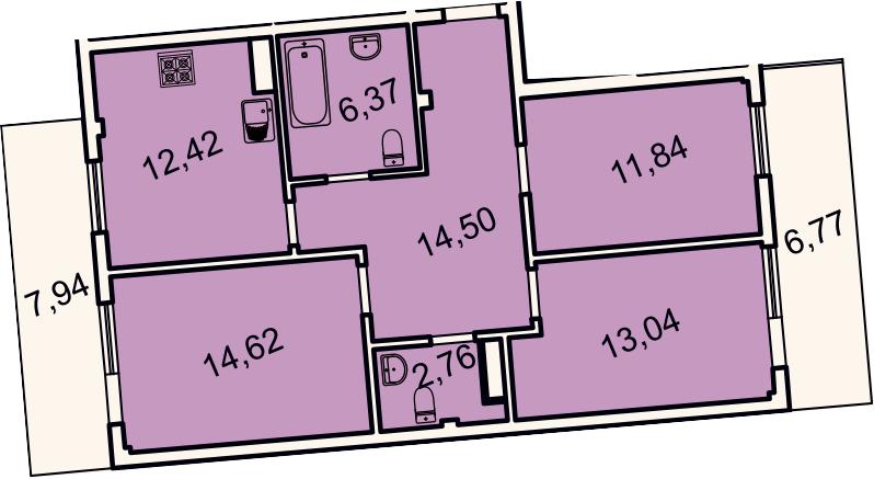 3-комнатная, 80 м²– 2