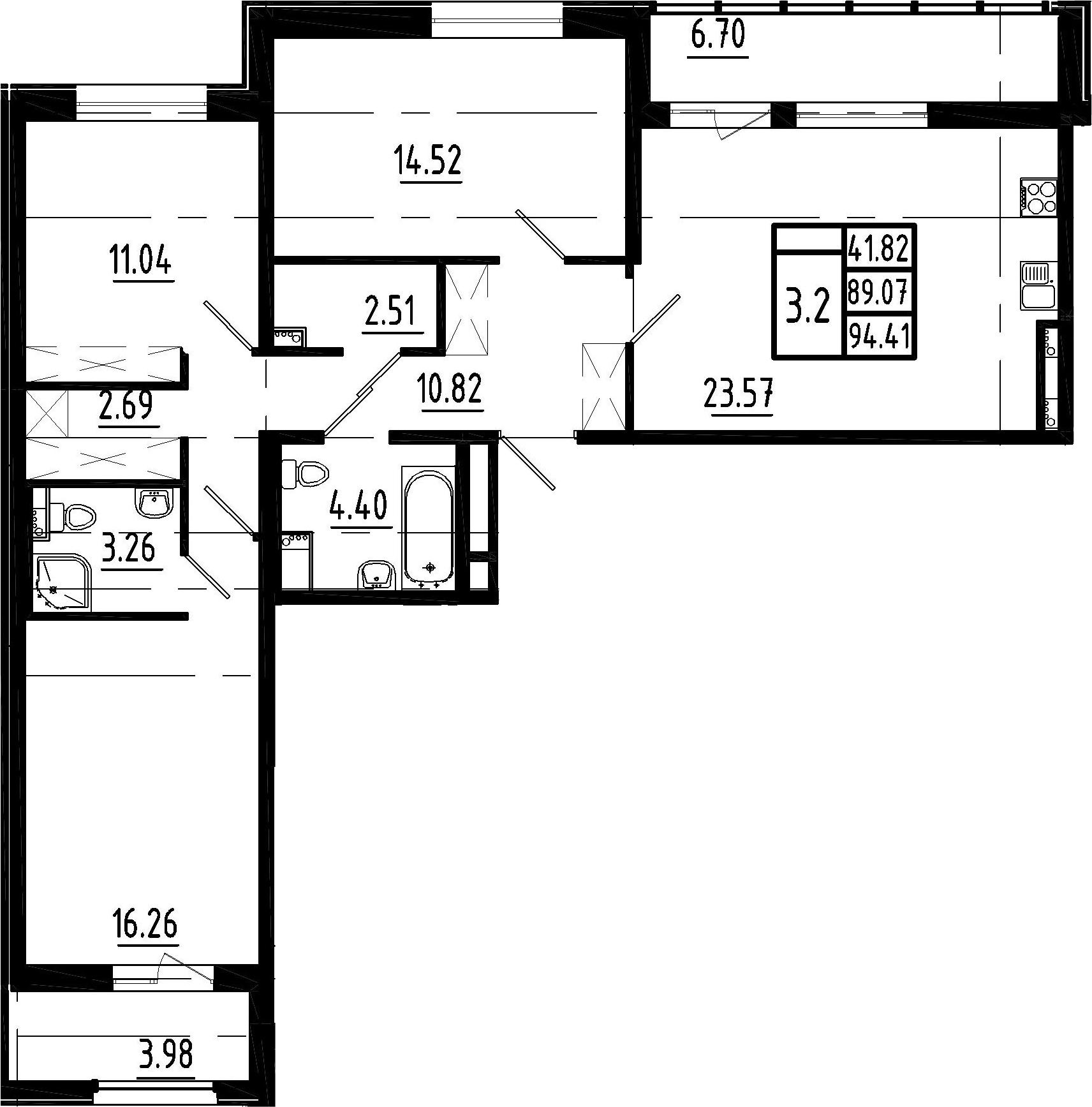4Е-комнатная, 89.07 м²– 2