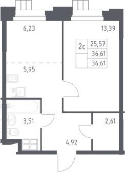 2Е-комнатная, 36.61 м²– 2