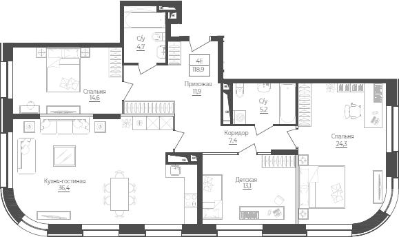 4Е-к.кв, 118.9 м²