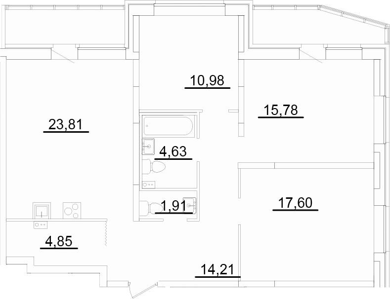 4Е-к.кв, 98.53 м²