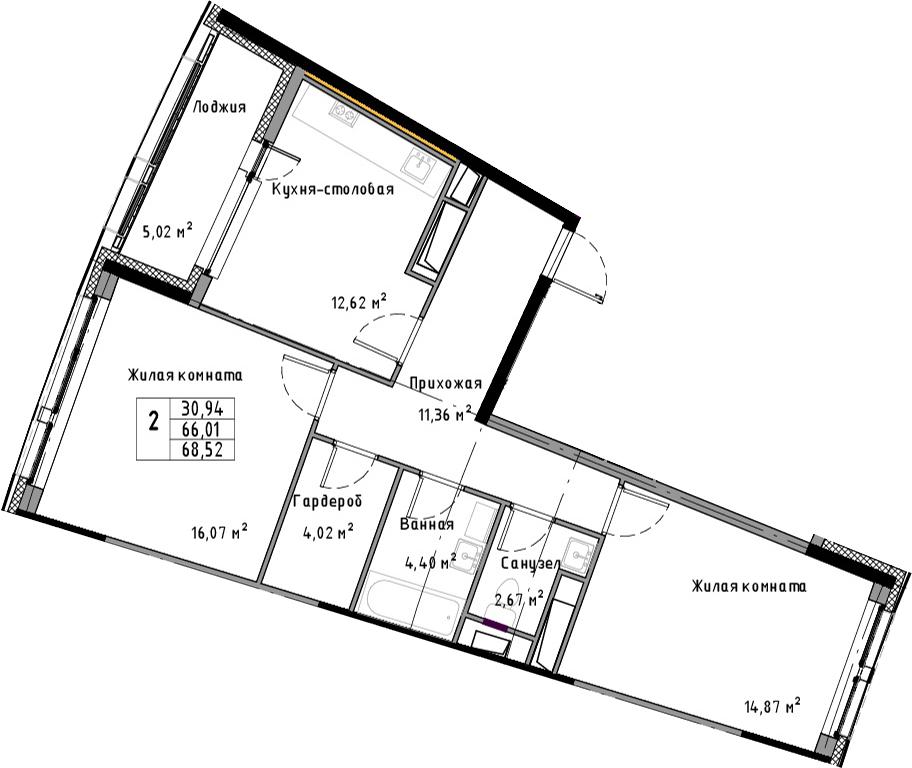 2-к.кв, 68.52 м²