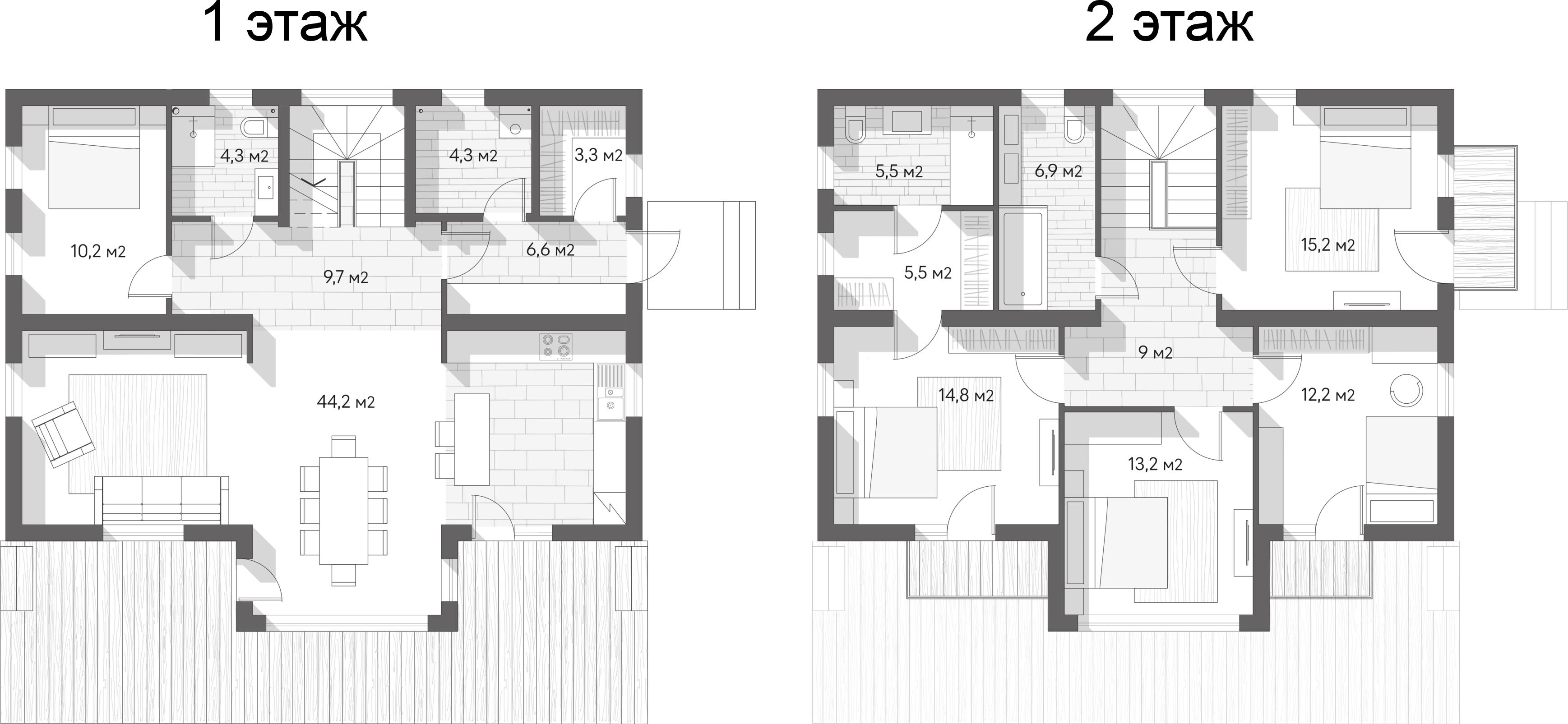 Коттеджи, 164.9 м²