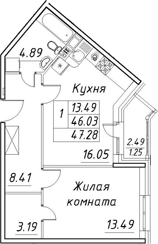 2-к.кв (евро), 48.53 м²