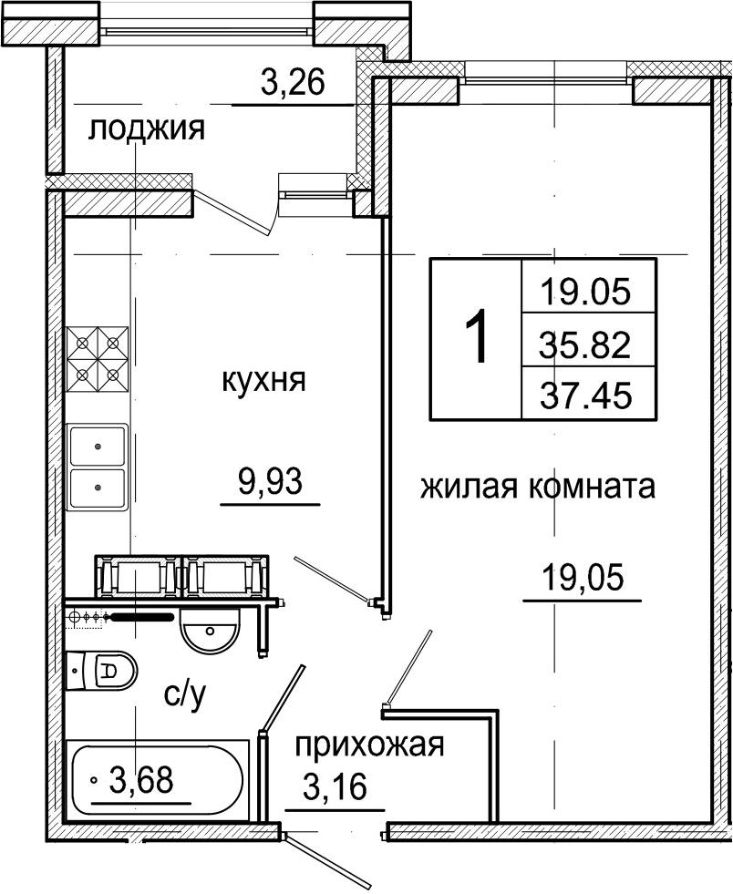 1-к.кв, 37.45 м²