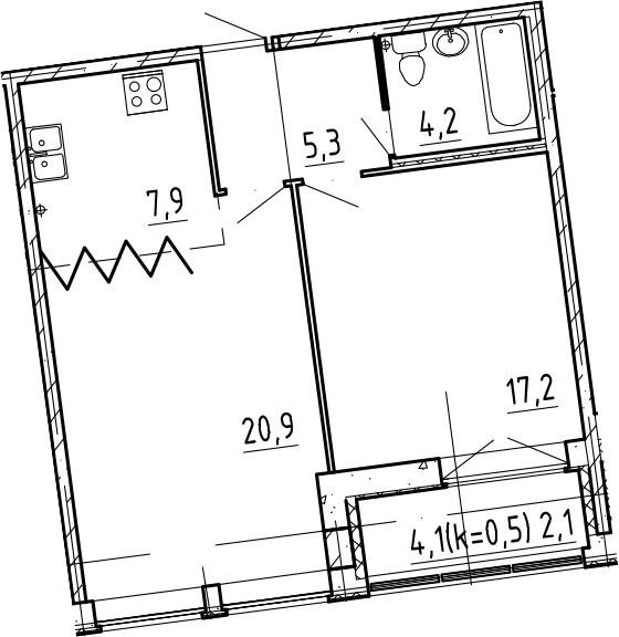 2-к.кв, 59.7 м²
